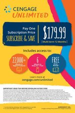 Cengage Unlimited 1 Year Access. Allows digital access to all Cengage (ITP) textbooks for one year for $179.99